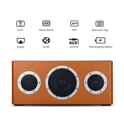 GGMM M4 - Leather Portable Wireless Audiophile WiFi & BT Speaker Wolfson DAC and Kevlar Speakers)  Light Brown) - C-Plan Audio