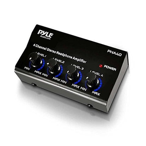 Pyle-Pro PHA40 4-Channel Stereo Headphone Amplifier with SA Power Supply