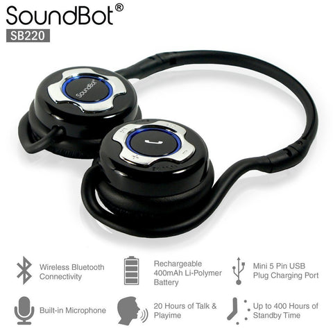 SoundBot SB220 Bluetooth Noise-Reduction Stereo Headphones
