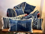 24 x 40 INDIGO AND MUD CLOTH PILLOWS BACKED WITH FAUX FUR