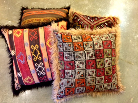 "24"" VINTAGE ONE OF A KIND KILIM PILLOWS WITH FAUX FUR"