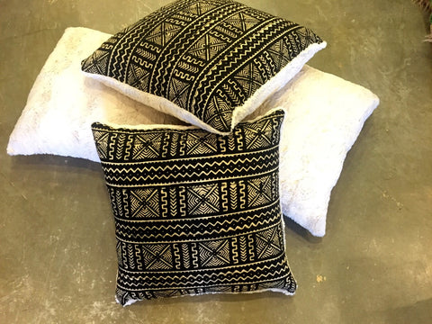 MUD CLOTH SOFA PILLOWS WITH FAUX BUNNY