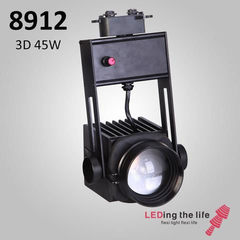 8912 Hasselblad 3D, 45W, 3D-Focusable,  LED Track Focus Spotlight: 0-10V Dimmable,15°~43°