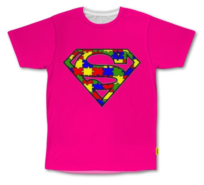 PVCH - Autism Superhero Adults Tee Hot Pink Pre Order