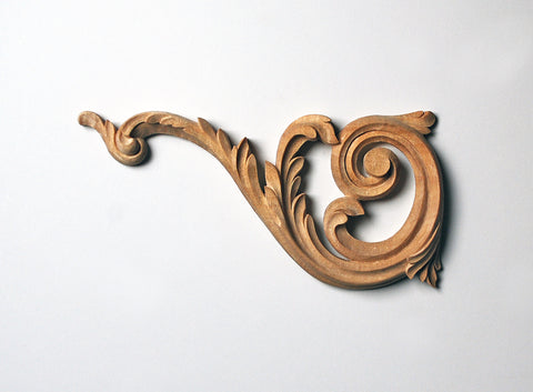 Acanthus Stair-Bracket Scroll Appliqué