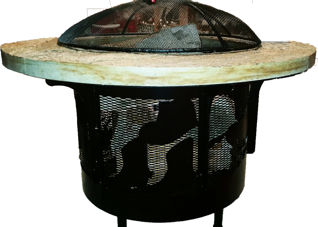 Metal Fire Pit with Stone Top