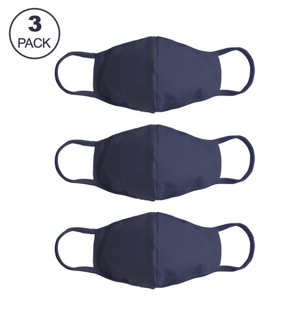 Pack Of Three Masks: Solid Navy Blue