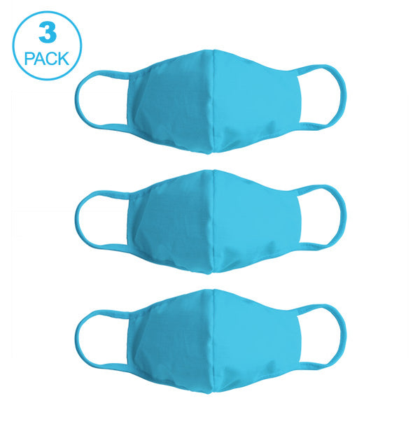 Pack Of Three Masks: Solid SkyBlue