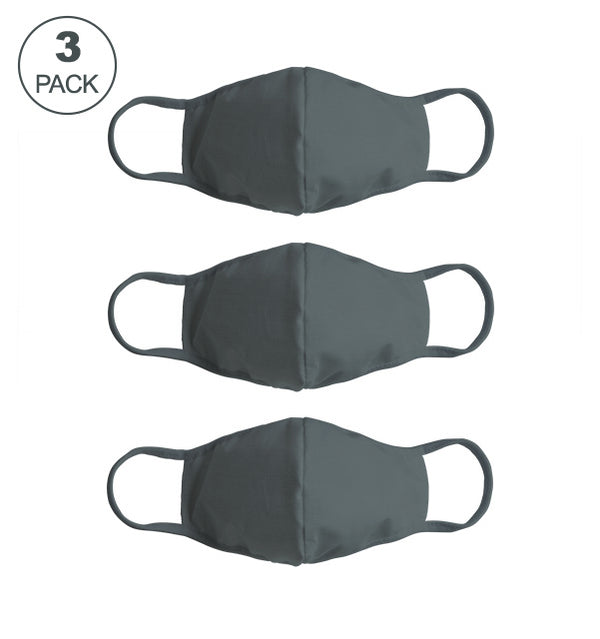 Pack Of Three Masks: Solid Steel Grey
