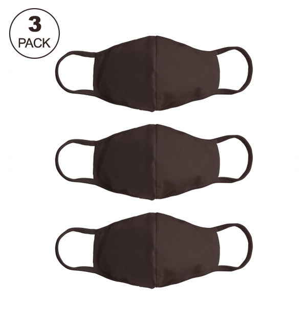 Pack Of Three Masks: Solid Coffee Brown