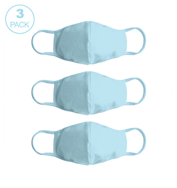 Pack Of Three Masks: Solid Turquoise