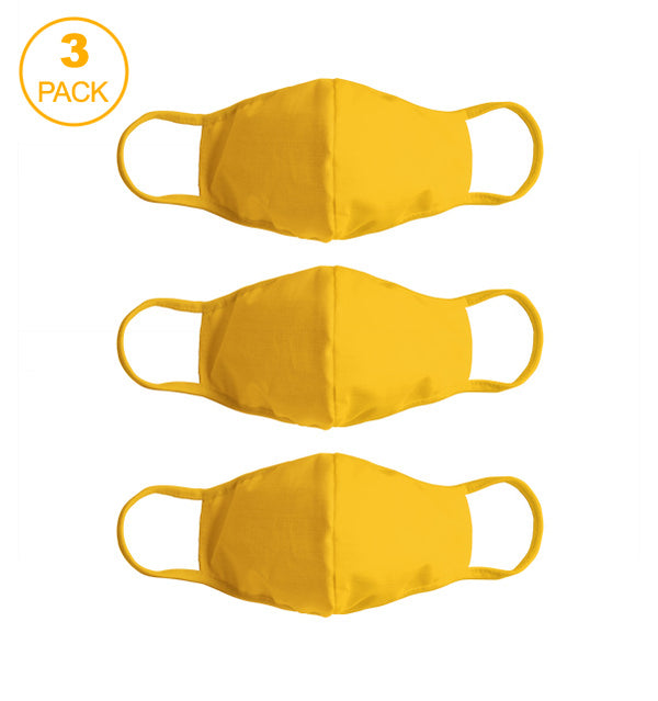 Pack Of Three Masks: Solid Golden Yellow