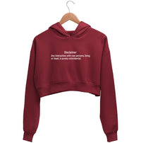 Introvert Disclaimer Crop Hoodie