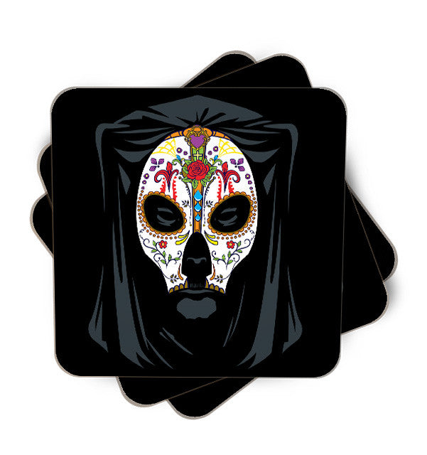 Dia De Los Muertos Single Piece, Coasters - ultykhopdi - Design By Alienbiker23, ultykhopdi.com
