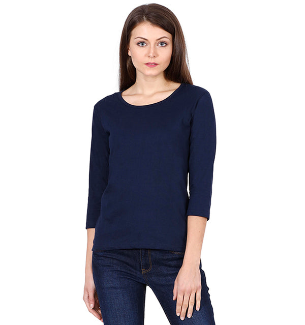 Solid Navy Blue Full Sleeve T-shirt