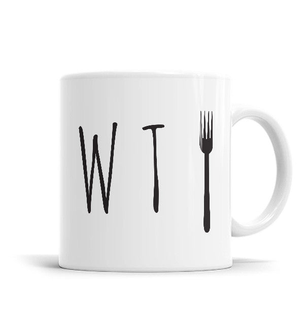 What The Fork 11 OZ Ceramic Mug, Mugs - ultykhopdi - Design By Vectorik, ultykhopdi.com