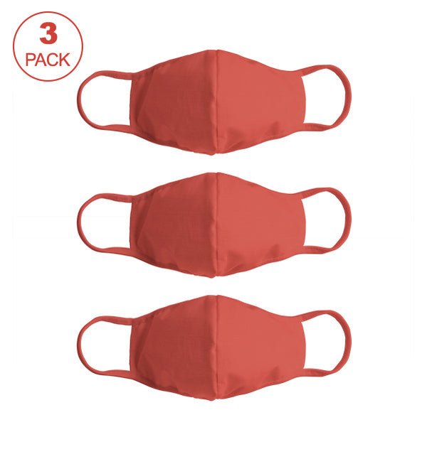 Pack Of Three Masks: Solid Brick Red