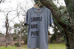 Simple and Pure Gray V-Neck Tshirt IF:Gathering