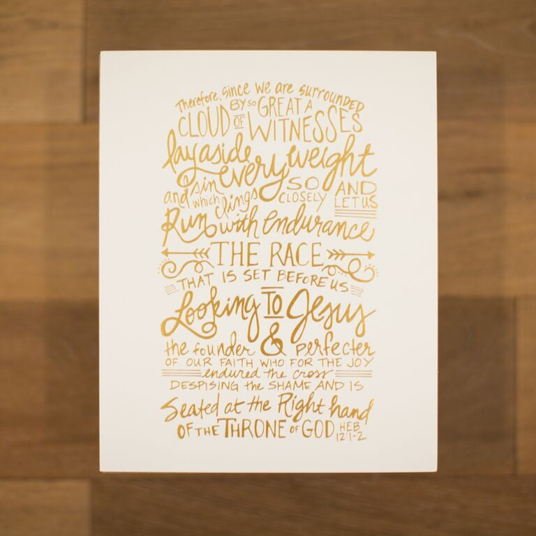 Hebrews 12 White With Gold Foil Scripted Print