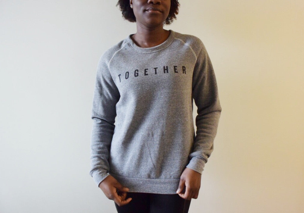 Together Gray Crew Neck Sweatshirt Front Model Shot