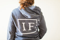 Navy Fleece IF:Gathering Logo Hoodie Zip Up Back