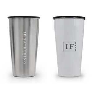 IF:Gathering Logo Silver and White Tumblr Drink