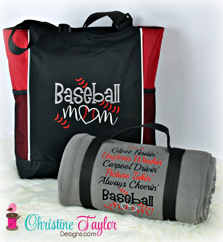 Baseball Mom Blanket and Tote SET