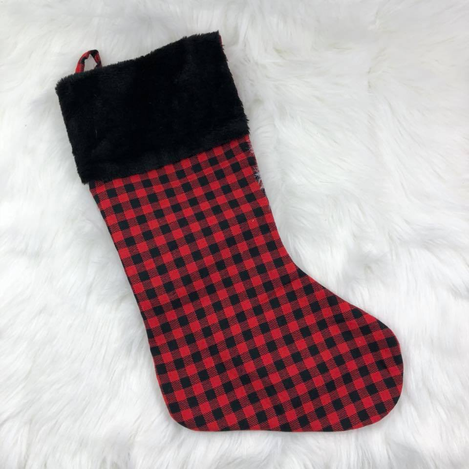 Personalized Stocking - Plaid with black cuff