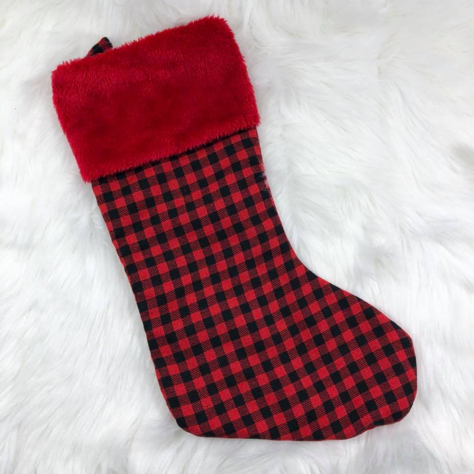 Personalized Stocking - Plaid with red cuff