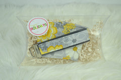 READY MADE Coffee Cozy/Key fob gift set - Grey yellow floral