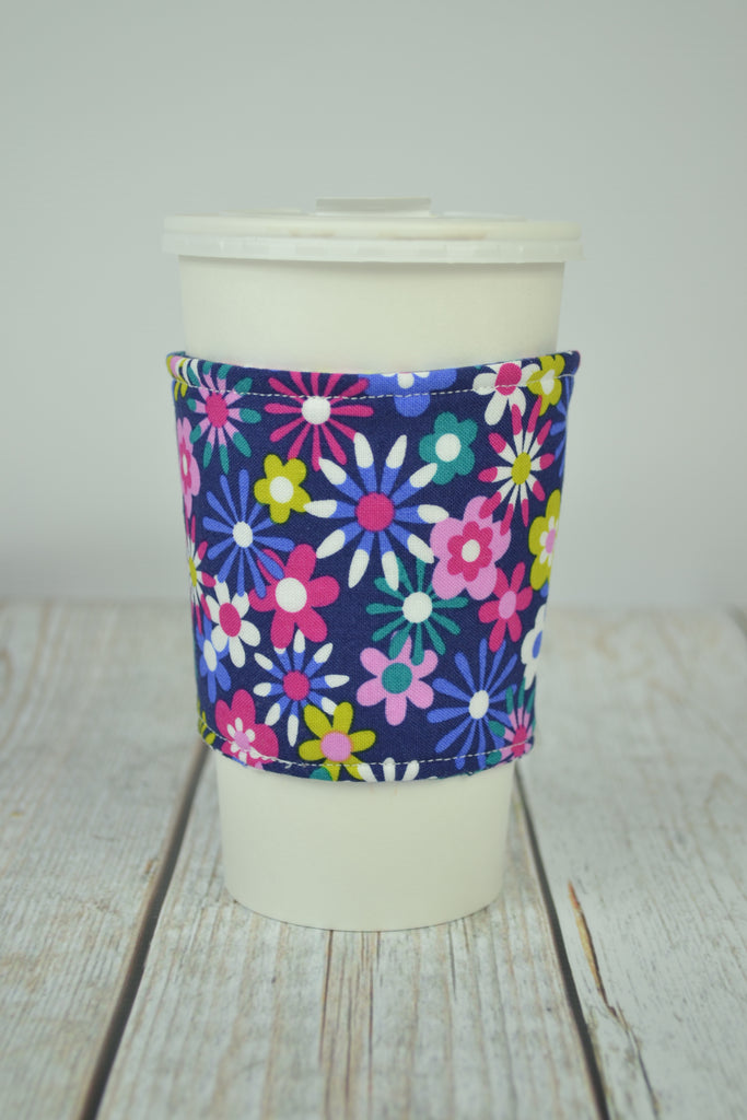 READY MADE Coffee Cozy - blue pink tiny flowers