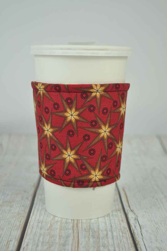 READY MADE Coffee Cozy - Red stars