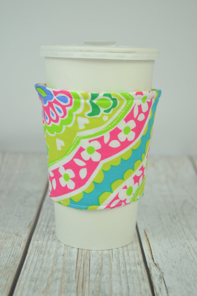 READY MADE Coffee Cozy - Lime and pink floral