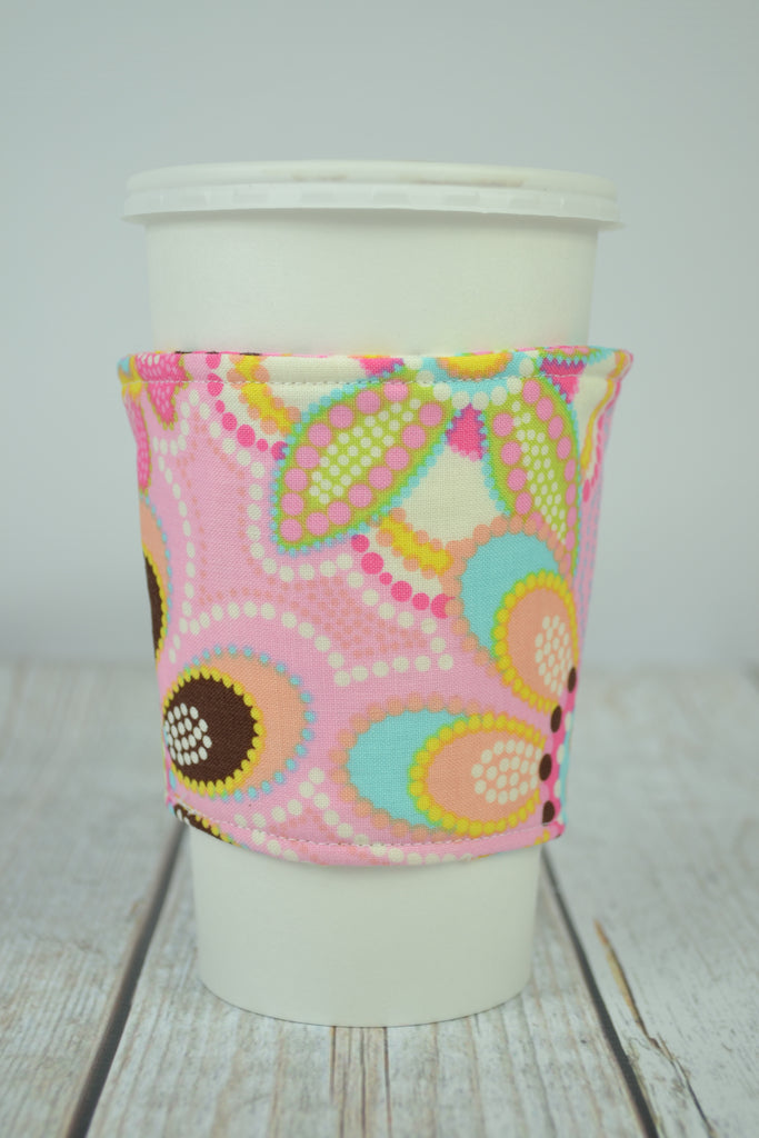 READY MADE Coffee Cozy - Pink Boho Floral