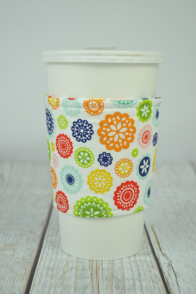 READY MADE Coffee Cozy - tiny floral on white