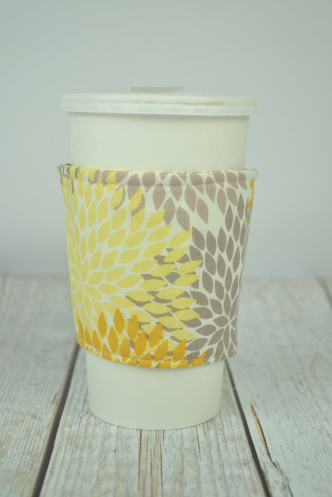 READY MADE Coffee Cozy - yellow leaves