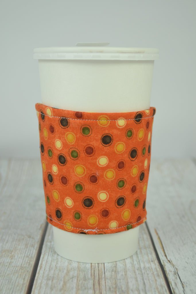 READY MADE Coffee Cozy - Orange Dots