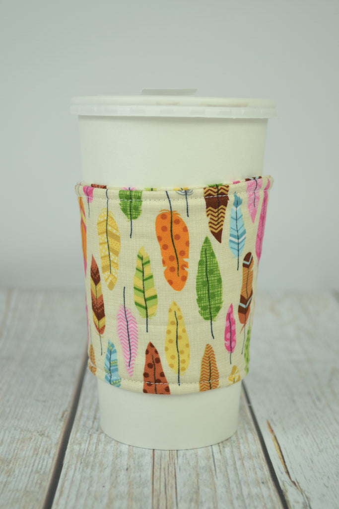 READY MADE Coffee Cozy - Colorful feathers