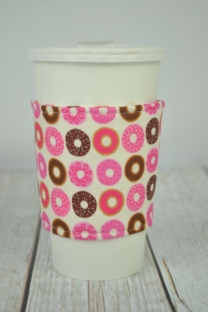 READY MADE Coffee Cozy - Pink Donuts