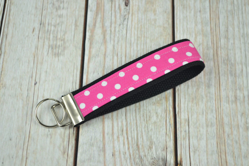 READY MADE Key Fob - Pink Dots