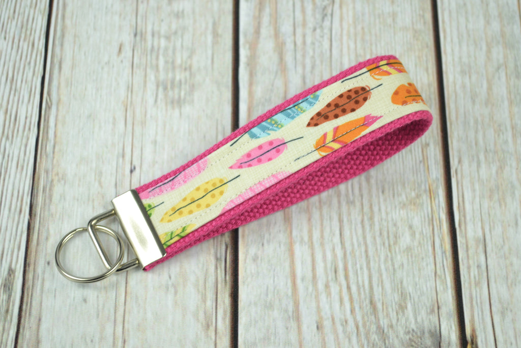 READY MADE Key Fob - Feathers on Pink