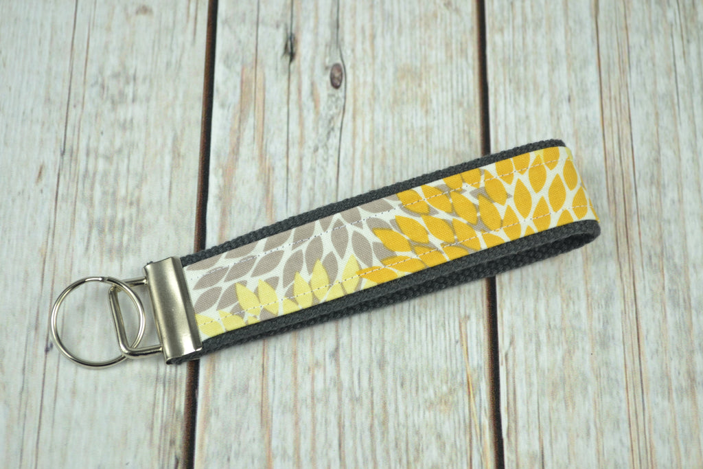 READY MADE Key Fob - Yellow Leaves