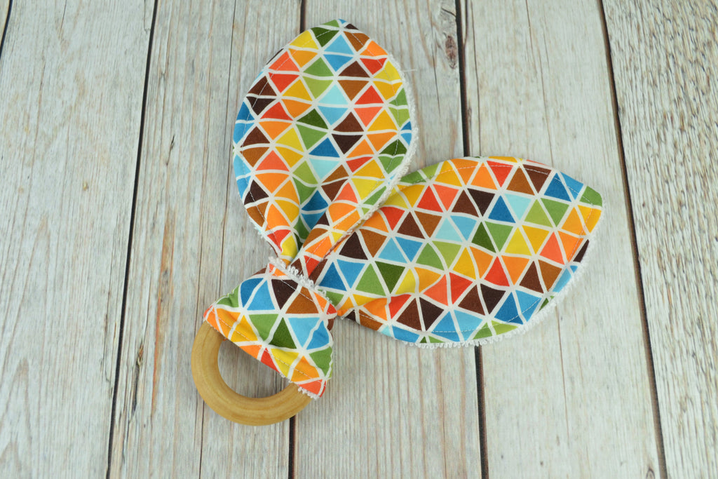 READY MADE Teething Ring - Brown Triangles