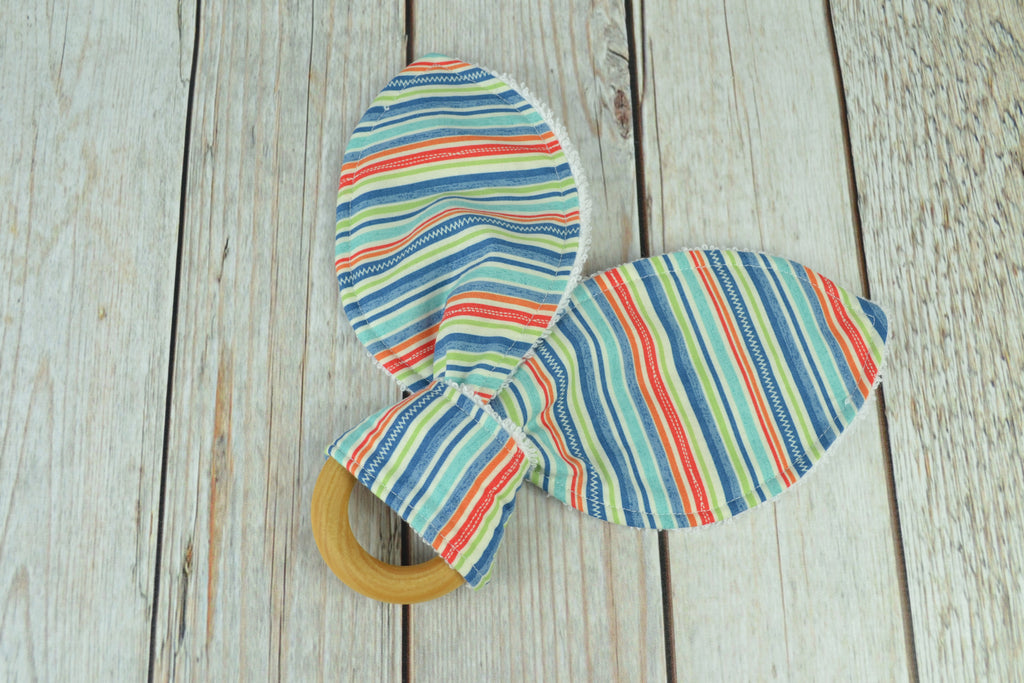 READY MADE Teething Ring - Blue Stripes