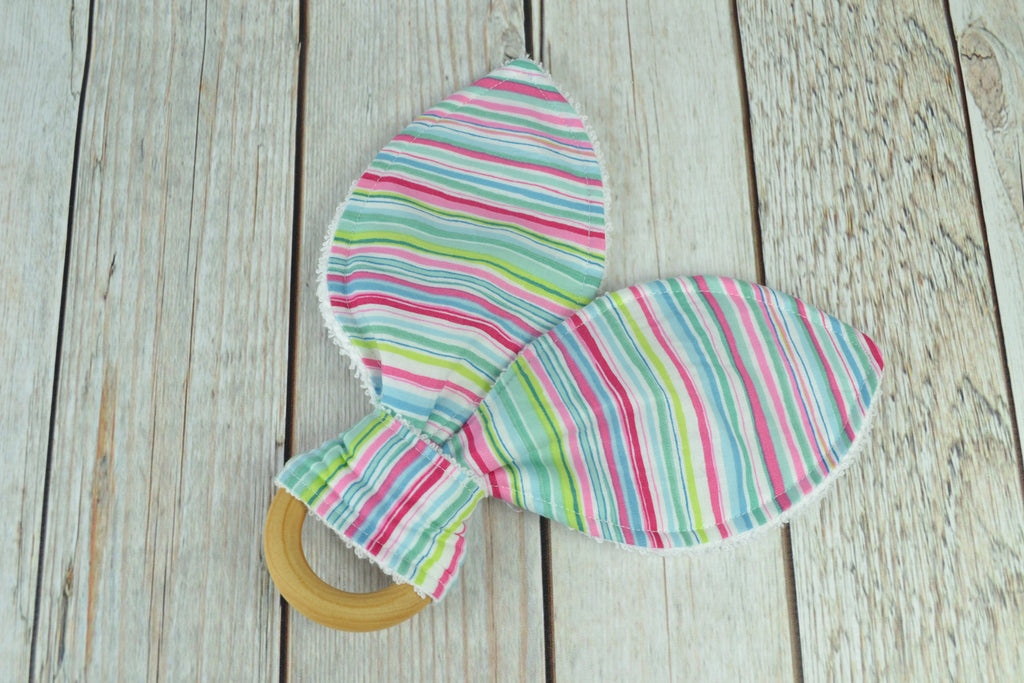 READY MADE Teething Ring - Pink Stripes