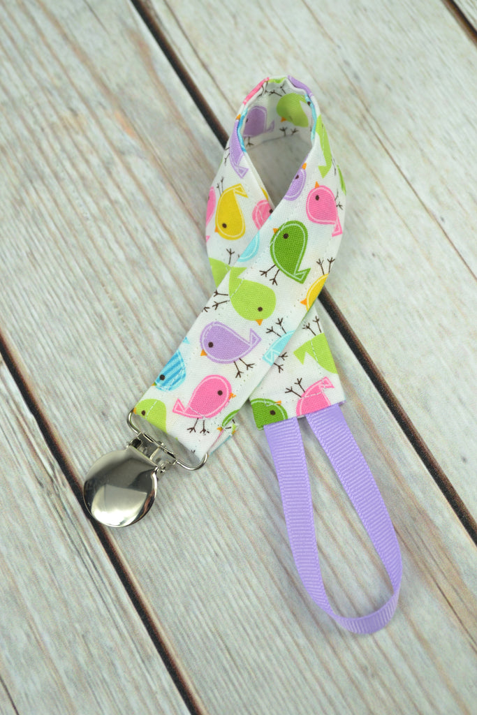 READY MADE Pacifier Clip - Tiny Birds
