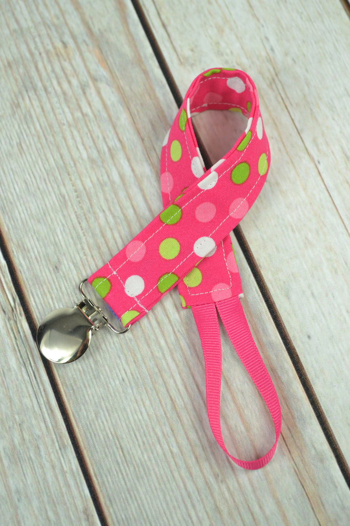 READY MADE Pacifier Clip - Pink Dots