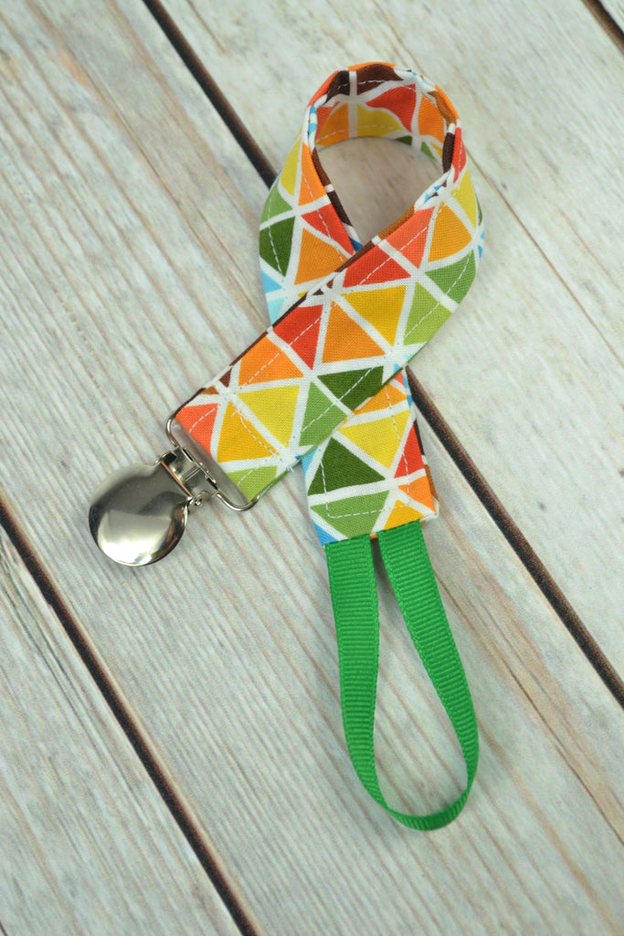 READY MADE Pacifier Clip - brown triangles