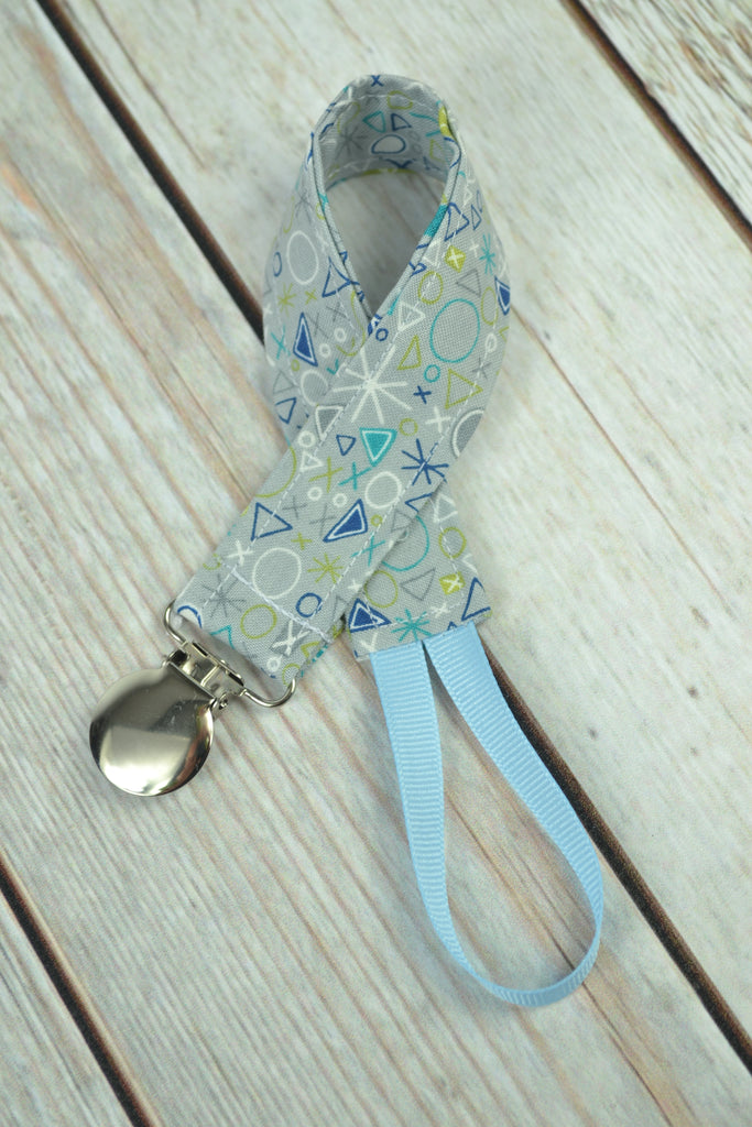 READY MADE Pacifier Clip - Blue stars and dots