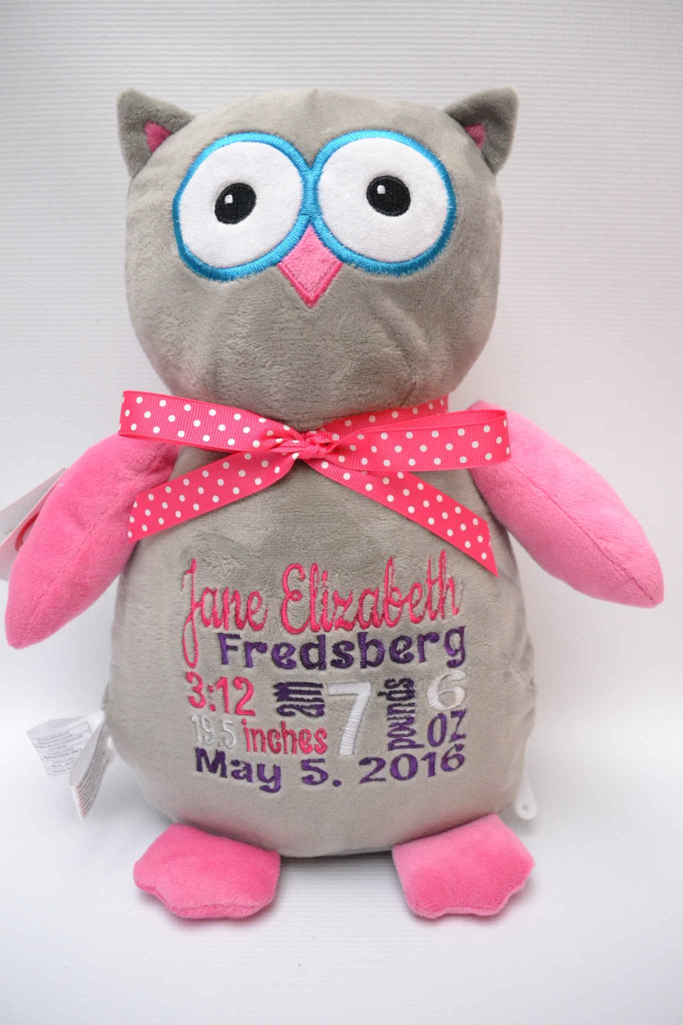 Owl (pink and grey) - Christine Taylor Designs